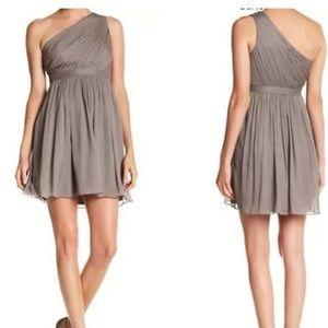J Crew Kylie grey one shoulder bridesmaid dress
